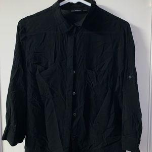Black button up dress blouse 3/4 sleeve length